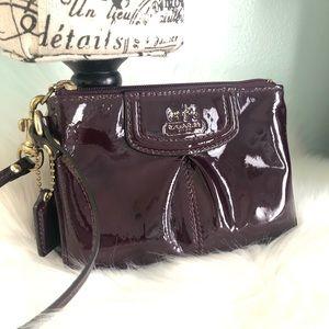 Coach Burgundy Patent Leather Wristlet